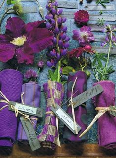purple napkin placeholders