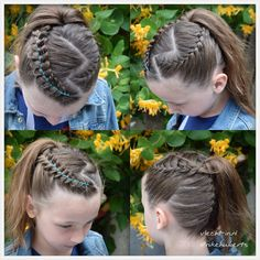 Dutch braid with ribbon and two French braids into a high ponytail.