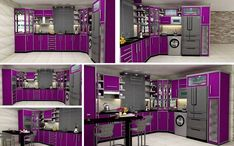 High Gloss Kitchen Cabinets Purple Color Design Ideas