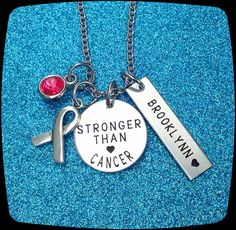 Cancer awareness Jewelry, Stronger than Cancer, Cancer jewelry, Awareness gift, Cancer Diagnosis Gift, Cancer survivor Gift, ENGRAVED