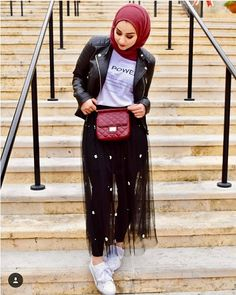 Tulle skirt with hijab-Christmas hijab casual wear – Just Trendy Girls