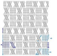 "Photo from album ""АРАНЫ крючком"" on Yandex. Crochet Leaf Patterns, Crochet Vest Pattern, Crochet Borders, Crochet Diagram, Crochet Chart, Crochet Motif, Stitch Patterns, Cute Crochet, Crochet Cable Stitch"