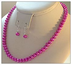 #ValentinesDay #JewelrySet $24.99 #Necklace #Earrings #HotPink #Cultured #Pearls #FreeShipUSA Valentines Day Hot Pink Fuchsia Genuine Cultured Pearl Necklace Free Earrings