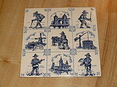 Villeroy & Boch Blue & White Pottery Ceramic Art Tile Trivet Plaque Antique Tiles, Or Antique, Tile Art, Vintage Pottery, Windmill, Ceramic Art, Smudging, Mosaic, Blue And White