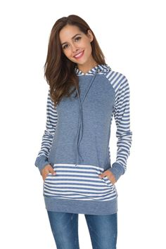 Women's Clothing, Hoodies & Sweatshirts, Women's Shirt Casual Long Sleeve Crewneck Color Splicing Shirt Leggings Top - B_blue - & Sweatshirts Light Blue Hoodie, Fashion Tips For Girls, Camo Hoodie, Tops For Leggings, Casual Shirts, Clothes For Women, Sweatshirts, Sleeves, Pocket