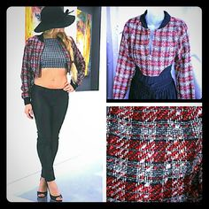 SASSY Tweed crop jacket New with tags Brand new with tags Red, gray and black plaid print, tweed crop jacket. Black trim around neckline and at wrists.on trend for this season! Pairs perfectly with a pair of ripped jeans, your favorite t-shirt and boots!  Size small Zip up front west 36th Jackets & Coats