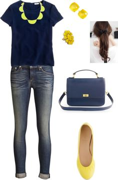 """""""Navy and Yellow"""" by jalo14 ❤ liked on Polyvore"""