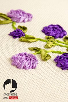 Ribbon embroidery is a 3 dimensional.  Stitch beautiful Hand embroidery designs with ribbons on the needle instead of embroidery threads. The effect is simply stunning given the vivid colours of ribbon.