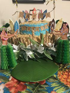 Hawaii themed birthday cake