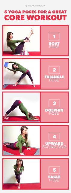 Core workouts sometimes only engage one, or some, of your abdominal muscles. The core is not just one muscle, it is a group of intertwining muscles in the torso that work together to support your spine and pelvis. Check out these 5 Yoga poses for a awesome core workout for overall core strength.  Beachbody // Beachbody Blog