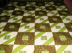 Diamond Pattern Green and Brown Patchwork by madeinUSAbyLinda, $350.00