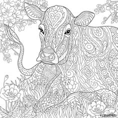 Zentangle cow, flower blossom, grass field adult coloring page
