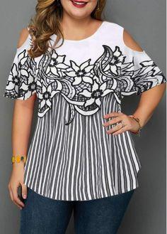 Plus Size Tops For Women Cold Shoulder Plus Size Stripe Print Blouse Plus Size Blouses, Plus Size Tops, Plus Size Women, Cold Shoulder Blouse, Red Blouses, Chiffon Blouses, Printed Blouse, Stripe Print, Short Sleeve Blouse