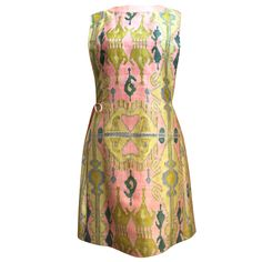 Very rare hand printed silk A-line dress from Pierre Cardin   France, 1960's   Unique tabard style with two layers securing with a tie