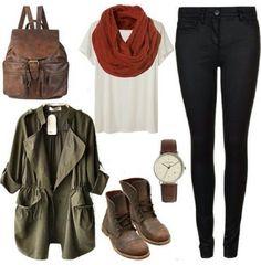 Camo green jacket brown boots white shirt burnt Orange scarf dark denim jeggings