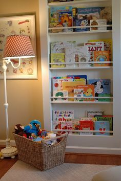 great built in bookcase for kids room/basement