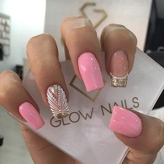 Glow Nails, Shiny Nails, Dope Nails, Fancy Nails, Pink Manicure, Pink Nail Art, French Acrylic Nails, Cute Acrylic Nails, Color Club Nail Polish