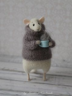 Needle Felted Mouse Mouse With Cup Needle by MimimishHandmade