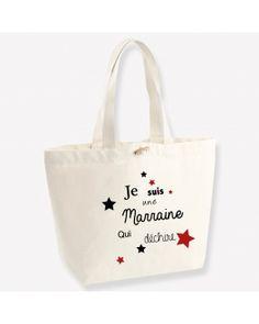Pour dire à Marraine à quel point elle est géniale, offrez-lui ce grand sac cabas Marraine qui déchire et personnalisez la couleur des étoiles. Coton Biologique, Dire, Impression, Point, Reusable Tote Bags, Large Bags, Original Gifts, Handkerchief Dress, Color