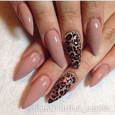 Long nude gel nails with leo print - LadyStyle