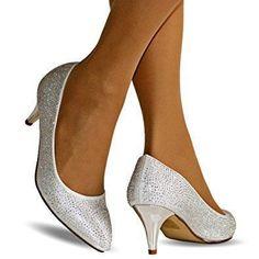 Rock on styles Ladies Silver Wedding Bridal Prom Party Low Kitten Heel Diamante Court Shoes pumps Size (UK 6 / EU 39) #promshoesvintage #promshoeslowheeled