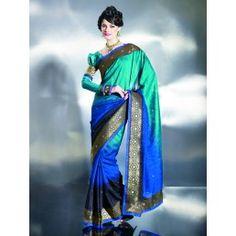 Peacock Shaded Beautiful Designer Slik Saree