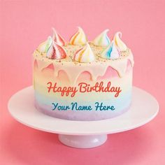 Colourful Unicorn Birthday Wishes Cake With Your Name