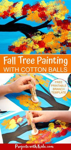 Fall Tree Painting with Cotton Balls Kids Crafts diy fall crafts for kids Fall Arts And Crafts, Easy Fall Crafts, Fall Crafts For Kids, Art For Kids, Kids Diy, Autumn Art Ideas For Kids, Fall Crafts For Preschoolers, Fall Toddler Crafts, Fall Activities For Kids