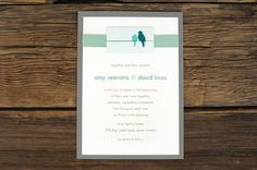 Layered Love Birds on a High Wire Wedding Invitations