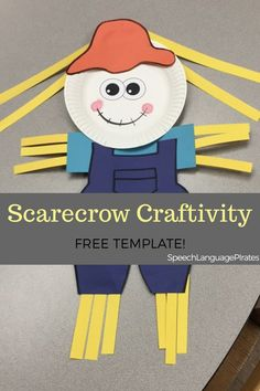scarecrow craft for speech and language free preschool Halloween Speech Therapy Activities, Preschool Speech Therapy, Speech Therapy Games, Speech Activities, Speech Language Therapy, Language Activities, Speech And Language, Language Arts, Free Preschool
