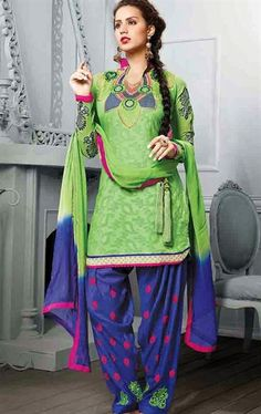 Picture of Luscious Green Color Patiala Kameez