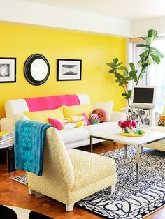 Check Out These Living Rooms That Feature Yellow! Use Yellow To Brighten Up  Your Wall Color Or Add A Pop Of Color To A Darker Room. Part 81
