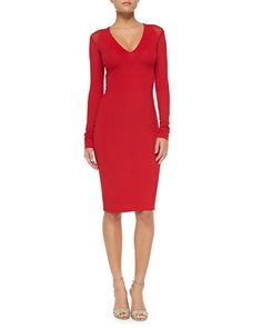 Long-Sleeve V-Neck Fitted Dress by Donna Karan at Neiman Marcus.