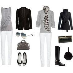 Travel Wardrobe 86 that black and white scarf and the gray shirt on the left and almost all of the outfit on the left save the jacket. Capsule Wardrobe, Capsule Outfits, Fashion Capsule, Work Wardrobe, Travel Wardrobe, Fashion Outfits, Womens Fashion, Curvy Fashion, Fashion Trends