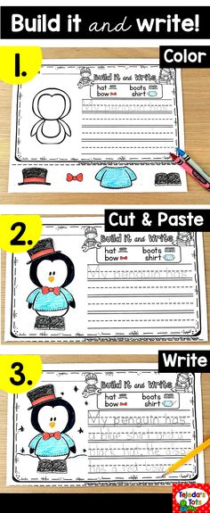 Students love to build! In this center or writing activity, students cut and paste the pieces they want to build their pictures, then write about them! Differentiated with a picture word bank and sentence prompt to trace. for more advanced writers 1st Grade Writing, Teaching Writing, Writing Activities, Classroom Activities, Christmas Activities, Teaching Ideas, Winter Activities, Writing Lessons, Writing Resources