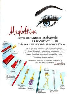 Maybelline Makes Eyes Beautiful, October 1960. #vintage #beauty #makeup #1950s #1960s