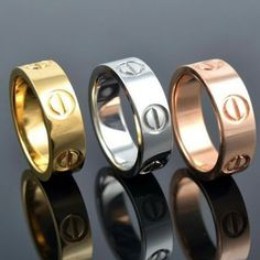 18k gold, rose gold or silver designer screw ring