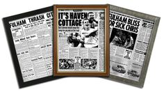 Choose from a range of top newspaper match reports for Fulham.  Select a top match report from the last 100 years for your favourite football club. Famous sporting moments & photos captured in a framed reprint. Over 50 other clubs to choose from.  What happened on that special game or event? Were Fulham making history? #fulham #fulhamfc #fulhamfcgifts #footballgifts #football #giftsforhim #giftsforteens #cottagers