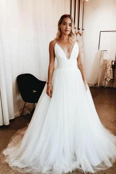 Plunging V-neck Simple Tulle Bridal Gown with Wide Waistband