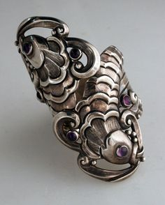 Mexican sterling bracelet with cabochon amethysts, Margot de Taxco, c. 1955