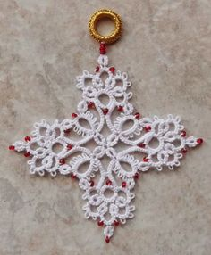 Snowflake       This pattern is from DMC-Tatting for Today, tatted in size 20 crochet thread. Description from pinterest.com. I searched for this on bing.com/images