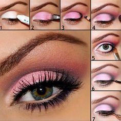 Pink Eyeshadow Makeup - Hint: apply primer plus white shadow first to make color pop!