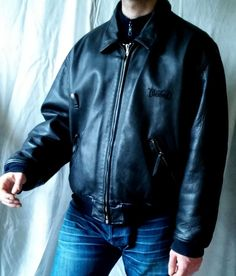 DIESEL  LEATHER Black  Jacket Men's   front logo size XL #diesel #FlightBomber