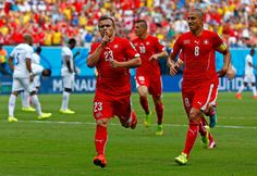 Xherdan Shaqiri of Switzerland celebrates scoring his team's first goal during the 2014 FIFA World Cup Brazil Group E match between Honduras and Switzerland at Arena Amazonia on June 25, 2014 in Manaus, Brazil.