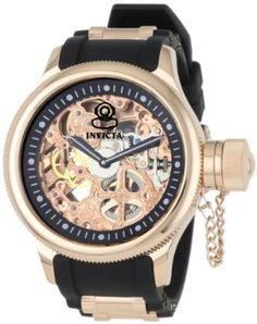 Invicta Men's 1090 Russian Diver Mechanical Skeleton Dial Black Polyurethane Watch: Watches: Amazon.com