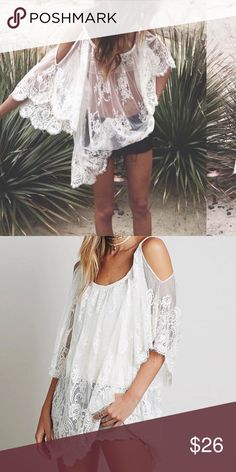 006  All lace mini dress cover up Super cute all white beach cover up or mini dress.                  HUGE SALE!!! UP TO 50% off on bundles Dresses Mini