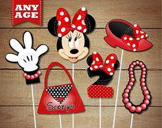 Red Polka Dots Personalized Minnie Mouse PRINTABLE Centerpiece Set - Any Age - Minnie Mouse Centerpiece Party Printables for Birthday Party