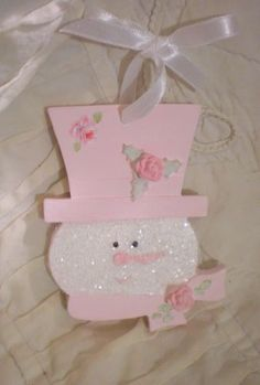 2 Christmas Tree Ornament HP Rose Pink Shabby Cottage Handpainted Chic Snowman | eBay
