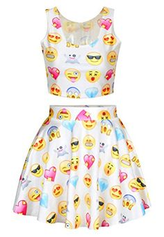 Order this White Chic Emoji Printed Skater Skirt Suits before it's gone! Cute Girl Outfits, Girly Outfits, Cute Casual Outfits, Girls Fashion Clothes, Teen Fashion Outfits, Outfits For Teens, White Chic, Crop Top Outfits, Cute Dresses