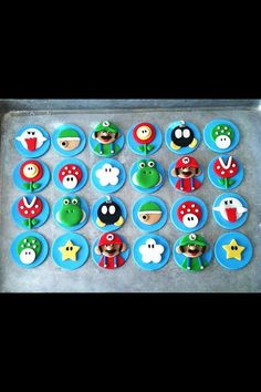 1 Dozen Fondant Super Mario Cupcake Toppers by CreativeFondants, $28.00